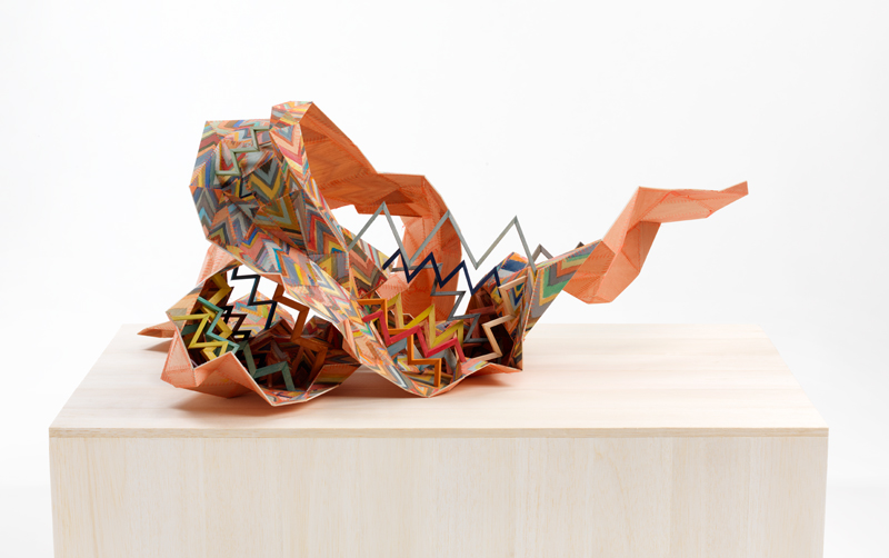 Amy Joy Watson, Crimper, 2011, balsa wood, watercolour, polyester thread, 42 x 70 x 58cm